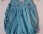 Baby Bubble Romper 12 Months  Aqua Green, Hand Dyed Cotton Knit