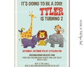 Safari Animals Themed Party Invitation - Birthday - Baby Shower Etc. - Customizable Wordings - Print your own
