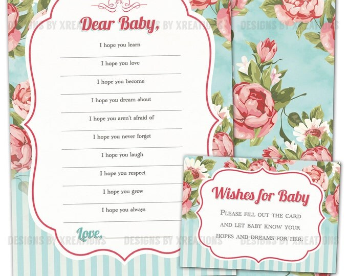 Printable Baby Shower Game, Wishes for Baby, Shabby Floral High Tea, Instant Download, Printable Card