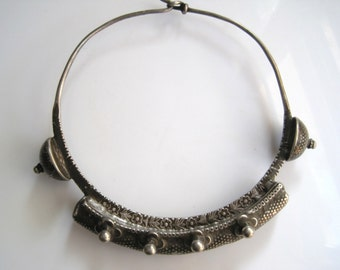 Vintage Torque Necklace - Indian Tribal Jewelry - Silver Neck Ring - Ethnic Jewelry - Tribal Necklace - Choker Necklace - Indian Jewelry