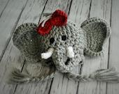 Baby Girl Elephant Hat - Baby Elephant Hat with Bow Clip - Crimson Tide Elephant Hat - Baby Girl Hat - Baby Halloween Costume -Baby Hat