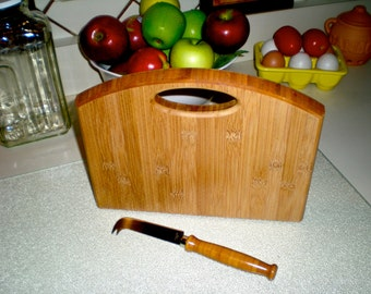 Bamboo Cutting Board - Serving Board - Bread Board - Cheese Board with Cheese Knife - Hand Made.