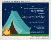 PRINTABLE - Birthday or Campout Invitation Printable (Campfire Cookout)