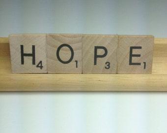 HOPE, Upcycled/Recycled Magnet, Scrabble Magnet, Inspirational, Frig, Religious, Breast Cancer Awareness, Warrior Magnet, Survivor Magnet