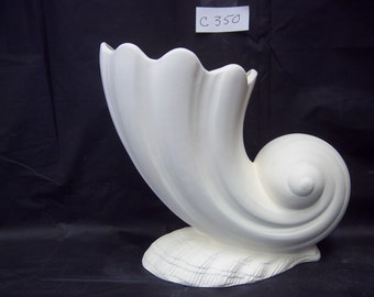 Sea shell vase C350 you paint ceramic bisque glazed inside