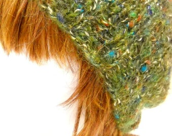 Green Slouch Hat, Handknit Hat, Adult Size Hat, Accessories
