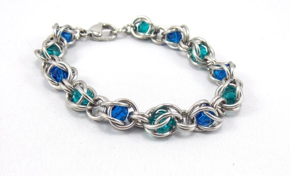 Sea Song Captive Crystal Stainless Steel Chainmaille Bracelet