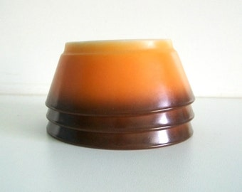 Vintage Fire King Orange Flame with Brown Trim Glass Bowls Anchor Hocking