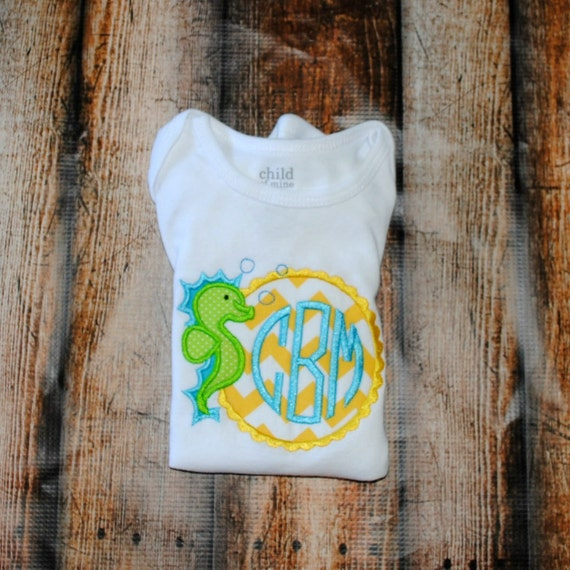 Items similar to sea horse with monogram embroidered