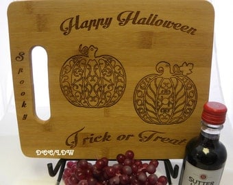 OOAK Cutting Board Personalized Custom Bamboo Happy Halloween Cheese Festive Food Wine Cook Gift Holiday Pumpkin Spooky Trick or Treat