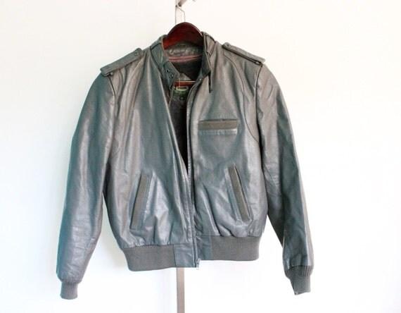 Vintage Hill Amp Archer Gray Leather Bomber Jacket By Smilehood