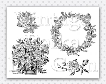 Clip Art Vintage Roses Wreath Victorian Rose Clipart Collage Sheet Graphics Printable Digital Instant Download