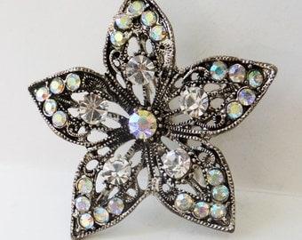 Vintage jewelry brooch silver aurora borealis rhinestones antiqued wedding brooch