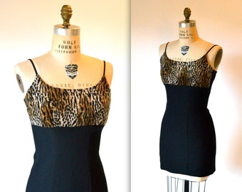 90s Vintage Mini Dress Animal Print Dress Size Small// 90s Prom Party Dress in Black and Animal Print Small By Fredericks