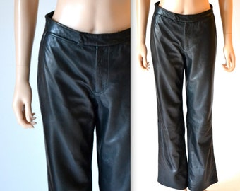 Vintage Leather Pants size Small 90s// Vintage Black Leather Pants