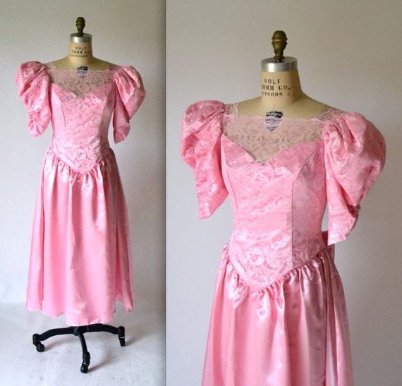 Vintage Wedding Dresses 80s: Vintage 80s Prom Dress In Pink Lace// 80s VIntage Bridesmaid