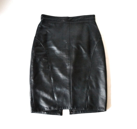 90s vintage black leather skirt size small