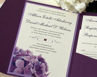 Purple Hydrangea Wedding Invitation, Floral Invitation, Purple Wedding, DEPOSIT