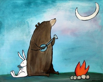 8x10 Campfire Bear Camping Woodland Animals Kids Art Print Wall Nursery Decor
