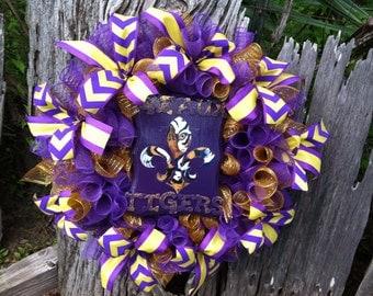 LSU Wreath, LSU Decor, Wreath, Purple and Gold Decor, Geaux Tigers, L