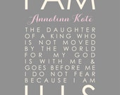 Pink and Gray Nursery I Am His Daughter of a King Personalized Scripture Print Christian Baptism Christening Gift Nursery Girl Decor 8x10