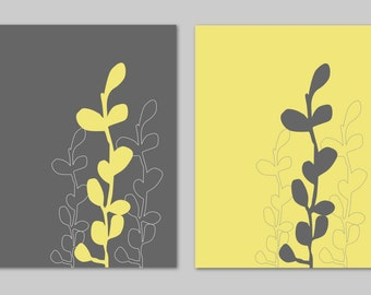 Yellow and Gray Bathroom Art Home Decor Prints Seaweed Botanical Prints Modern Bedroom Dining Room Decor - Set of 2 8x10s You Choose Colors