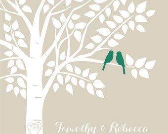 "Emerald Green Wedding Guest book Alternative Guest Book Tree Personalized Family Tree - 16""x20"" - 130 Signature Keepsake Guestbook Poster"