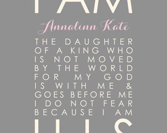 Baptism Gift Girl, I Am His, Daughter of the King, Baby Dedication Gift, Scripture Wall Art, Christian Nursery Decor 8x10