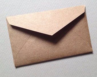 "Bulk sale - 200 Mini Envelopes--Recycled Kraft--Rustic Brown--Size 2 1/4"" x 3 1/2"" - heavyweight brown Kraft"