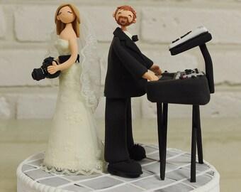 Custom Cake Topper -Musician, Photographer couple-