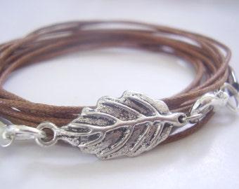 SILVER LEAF wrap bracelet (171 )