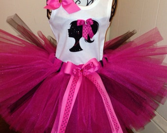 Barbie Tutu Set. Hot Pink and Black