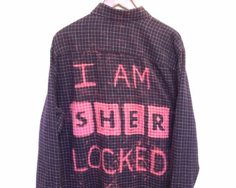 I Am Sherlocked Shirt in Burgundy Flannel. Comic con bbc Sherlock tv show Benedict cumberbatch geekery fandom quote plaid tv show