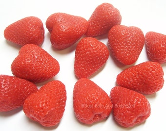 Lot 12 STRAWBERRIES Soap Handcrafted Glycerin Strawberry Fruit Embeds - Custom U Pick Color