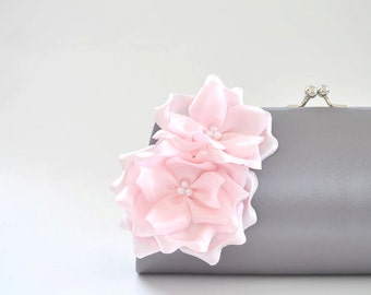 Gray and Pale Pink - Bridesmaid clutch / Bridal clutch