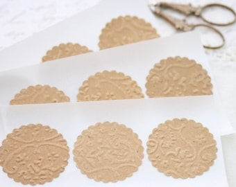 Wedding Stickers Seals -  25 Embossed Kraft Brown French Lace Elegant Seals For Envelopes Gift Wrap Favor Bags :  Wedding Envelope Seals