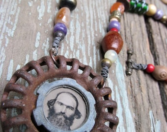 Handmade Altered Art Antique Tintype Pendant Found Object Steampunk Necklace / Instant Ancestors