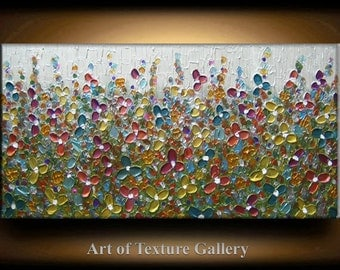 Large Texture Painting 48 x 24 Original Custom Texture Sculpture Flowers Teal Gold Copper Gold Pink Modern Metallics Oil by Je Hlobik