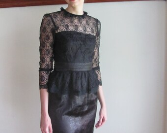 Rose Noir Dress / Black Gothic Lace Dress / Satin and lace Gunne Sax dress