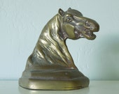 Vintage Bronze Bookend, Horse Head