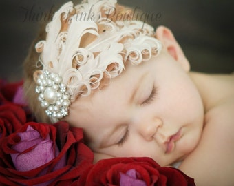 Baby Headband,Feather Headband,Baby Girl Headband,Couture Headband,Baby Headbands,Girls Headband, Photo prop.