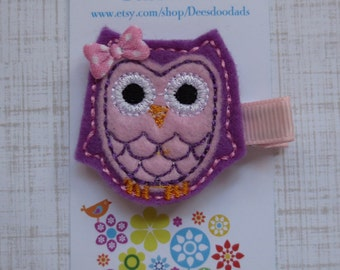 Lt Purple and Pink Owl Felt Embroidered Hair Clip - Feltie Clip - Hair Clip