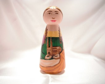 St. Emma - Catholic Saint Wooden Peg Doll Toy - made to order