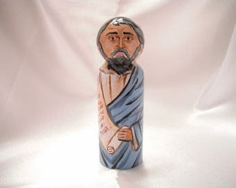 Isaiah the Prophet - Catholic Saint Wooden Peg Doll Toy - made to order