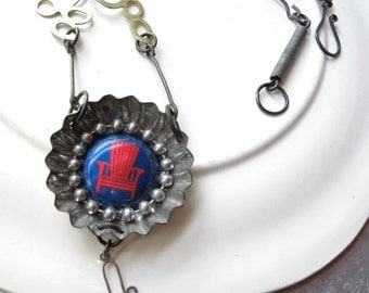 Red Chair Assemblage Necklace-Vintage Pieces-tin OOAK- Handmade Steel Chain-Altered Jewelry