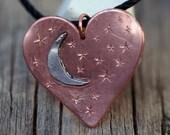 Heart, Moon, Stars Pendant, Hand made, hand engraved