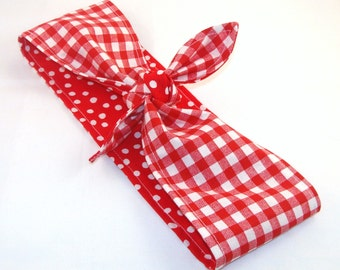 Rosie the Riveter Pin up Rockabilly Head Scarf, Red Gingham on Red with White Polka Dots Reversible Headband 40s Hair