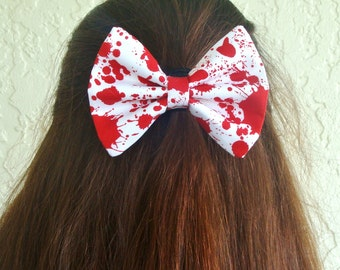 Hair Bow Vintage Inspired Blood Splatter Zombie Hair Bow Clip Rockabilly Pin up Teen Woman Girl Alligator Clip, French Barrette
