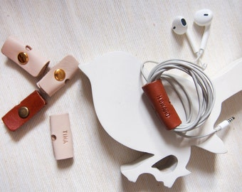Personalized Leather Earphone Holder, Handcrafted by Harlex