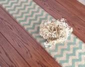 Burlap Chevron Table Runner 12x72 Rustic/Sage Table-runner Table Decor